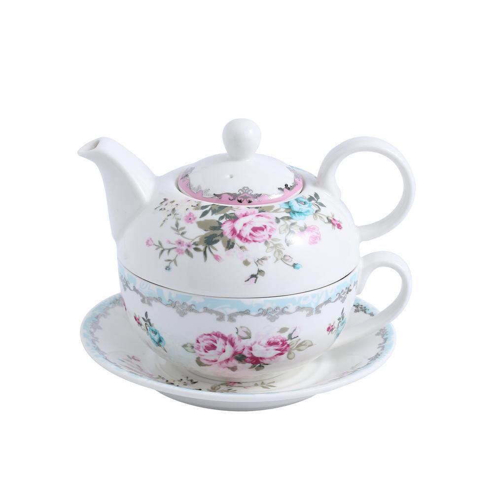 Porcelain Tea for One Set Teapot 11 Ounce Tea Set 1 Piece Teacup and Saucer