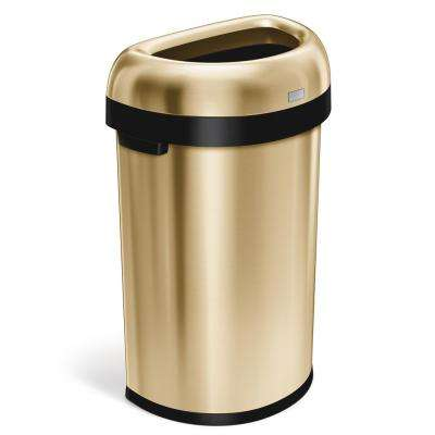 16 Gal. Heavy-Gauge Stainless Steel Semi-round Open Top Commercial Trash Can in Brass