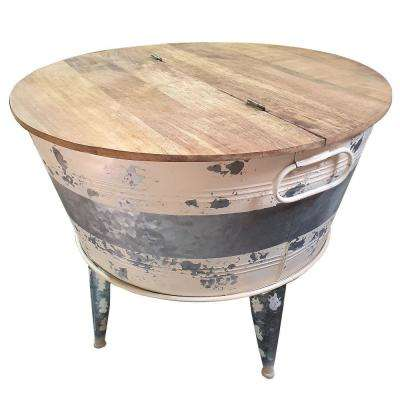 Benjara 26 In Distressed Brown Gray Medium Round Wood Coffee Table With Lift Top Bm193783 The Home Depot