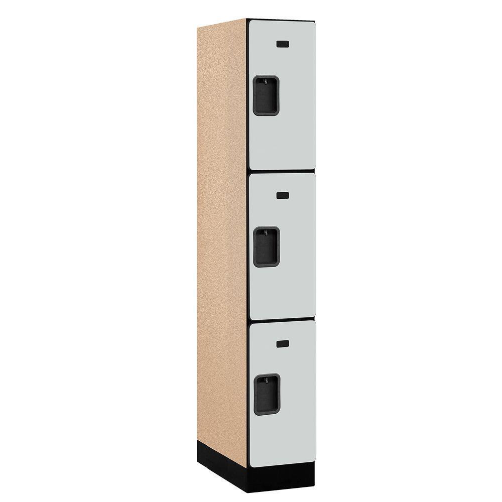 33000 Series 12 in. W x 76 in. H x 21 in. D 3-Tier Designer Wood Locker in Gray