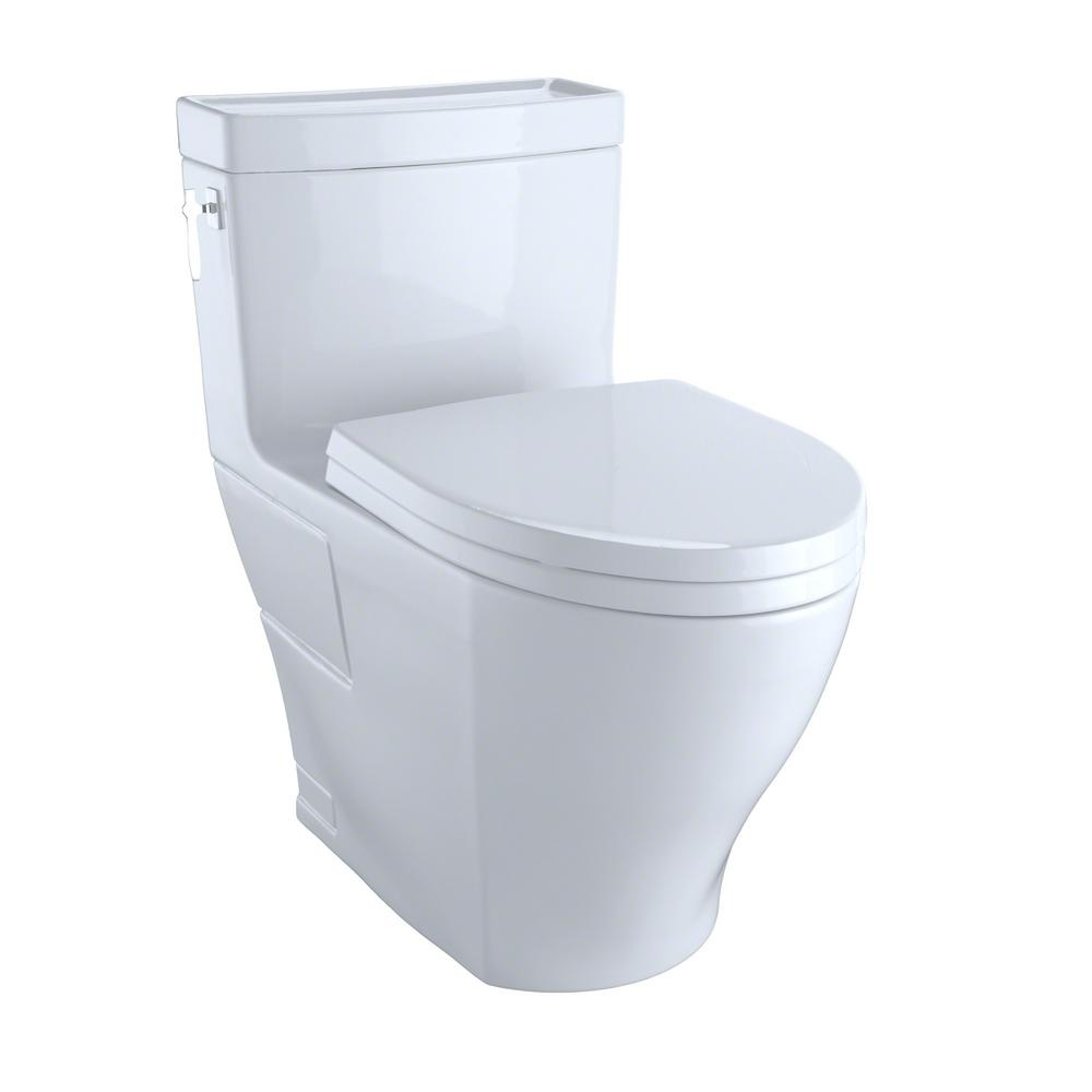 TOTO Aimes 1 Piece 128 GPF Single Flush Elongated Skirted Toilet With CeFiONtect In Cotton