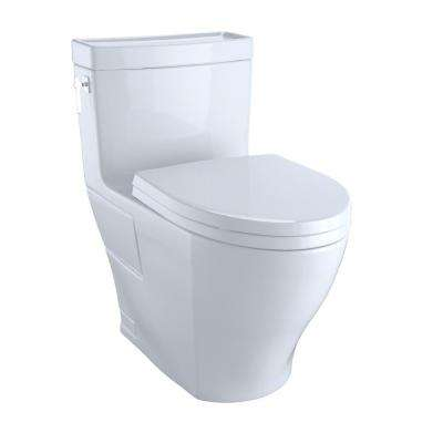 Aimes 1-Piece 1.28 GPF Single Flush Elongated Skirted Toilet with CeFiONtect in Cotton White