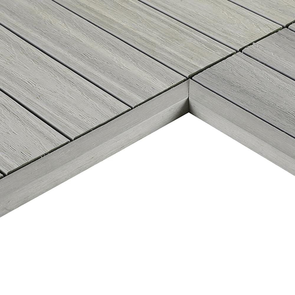 NewTechWood 1/12 ft. x 1 ft. Quick Deck Composite Deck Tile Inside Corner Fascia in Icelandic Smoke White (2-Pieces/Box)