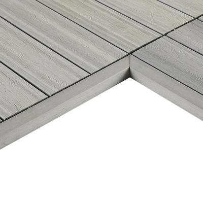 1/6 ft. x 1 ft. Quick Deck Composite Deck Tile Inside Corner Trim in Icelandic Smoke White (2-Pieces/Box)