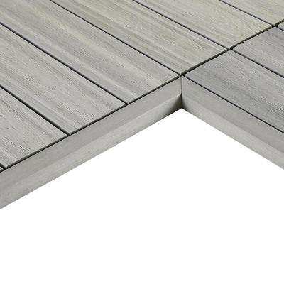 1/6 ft. x 1 ft. Quick Deck Composite Deck Tile Inside End Corner Fascia in Icelandic Smoke White (2-Pieces/box)