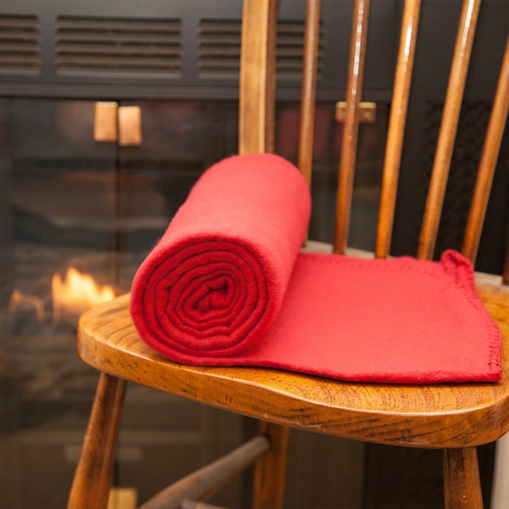 50 in. x 60 in. Red Super Soft Fleece Throw Blanket (Set of 12)