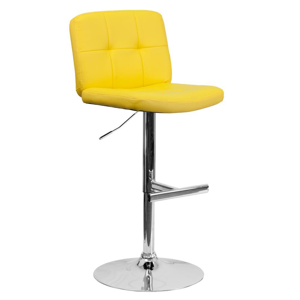 FLASH Adjustable Height Yellow Cushioned Bar Stool
