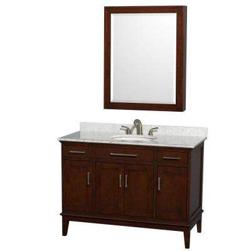 Hatton 48 in. Vanity in Dark Chestnut with Marble Vanity Top in Carrara White, Sink and Medicine Cabinet