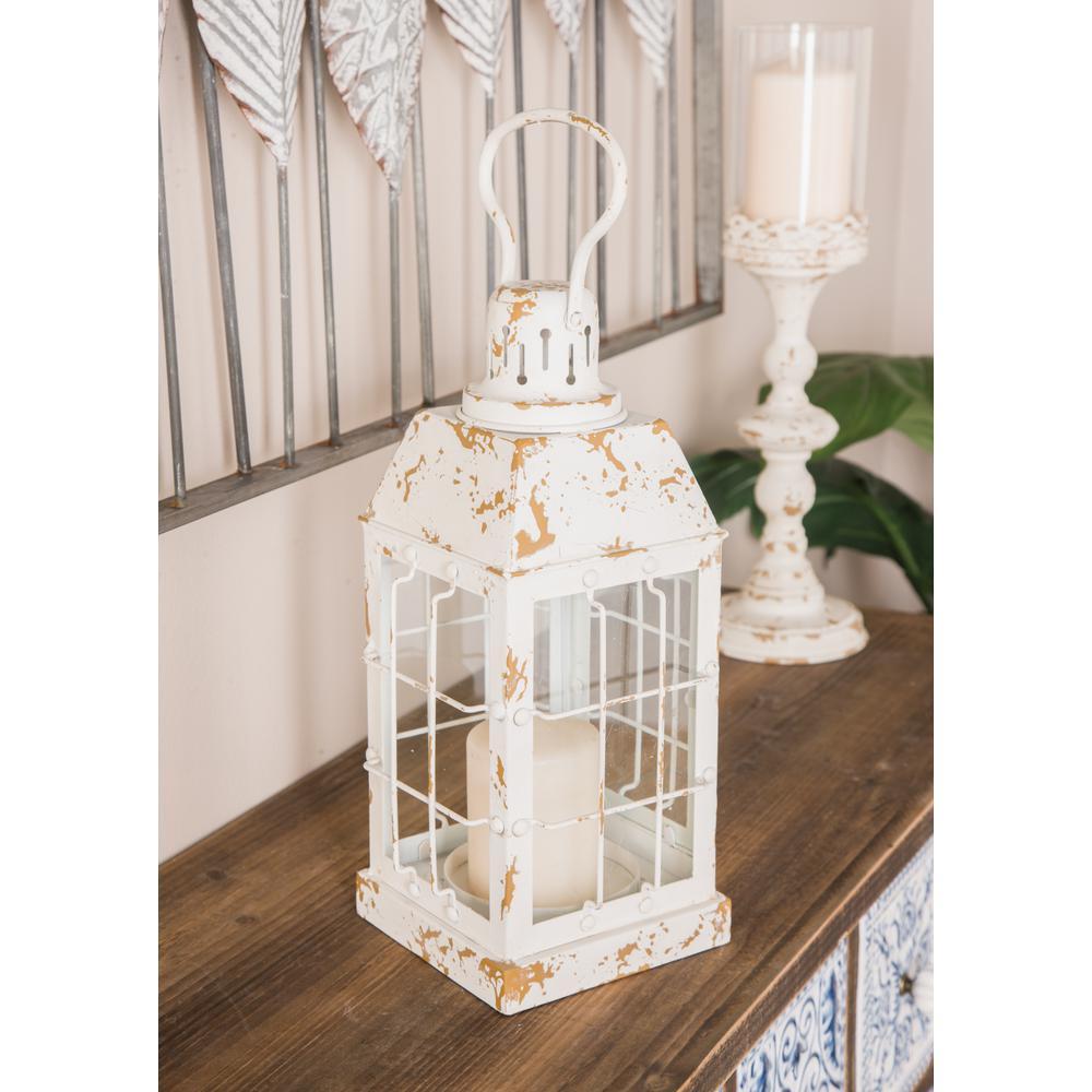 Distressed White Rectangular Candle Lantern