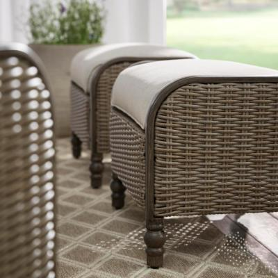 Windsor Brown Wicker Outdoor Patio Ottoman with CushionGuard Biscuit Tan Cushions