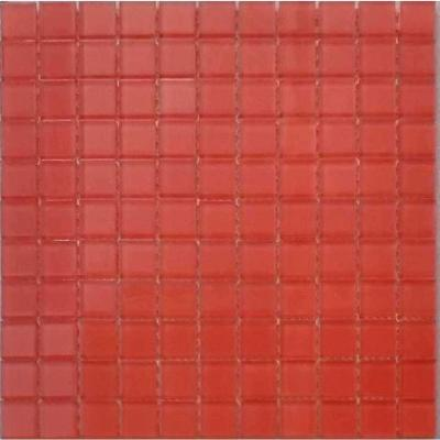 Metro Marmalade Red Glossy 11.75 in. x 11.75 in. Glass Grid Mosaic Wall Tile (7.67 sq. ft./Case)