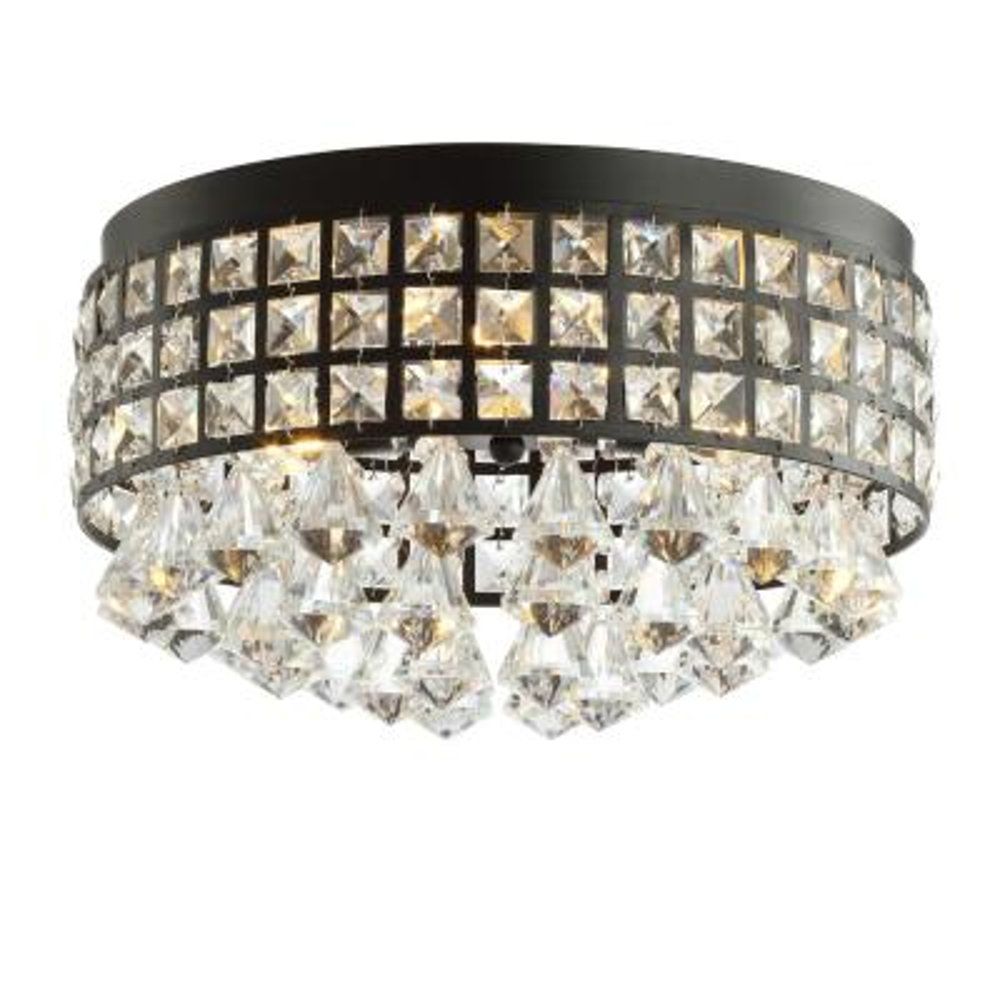 Meredith 14.5 in. 3-Light Crystal Drops/Metal LED Flush Mount, Black