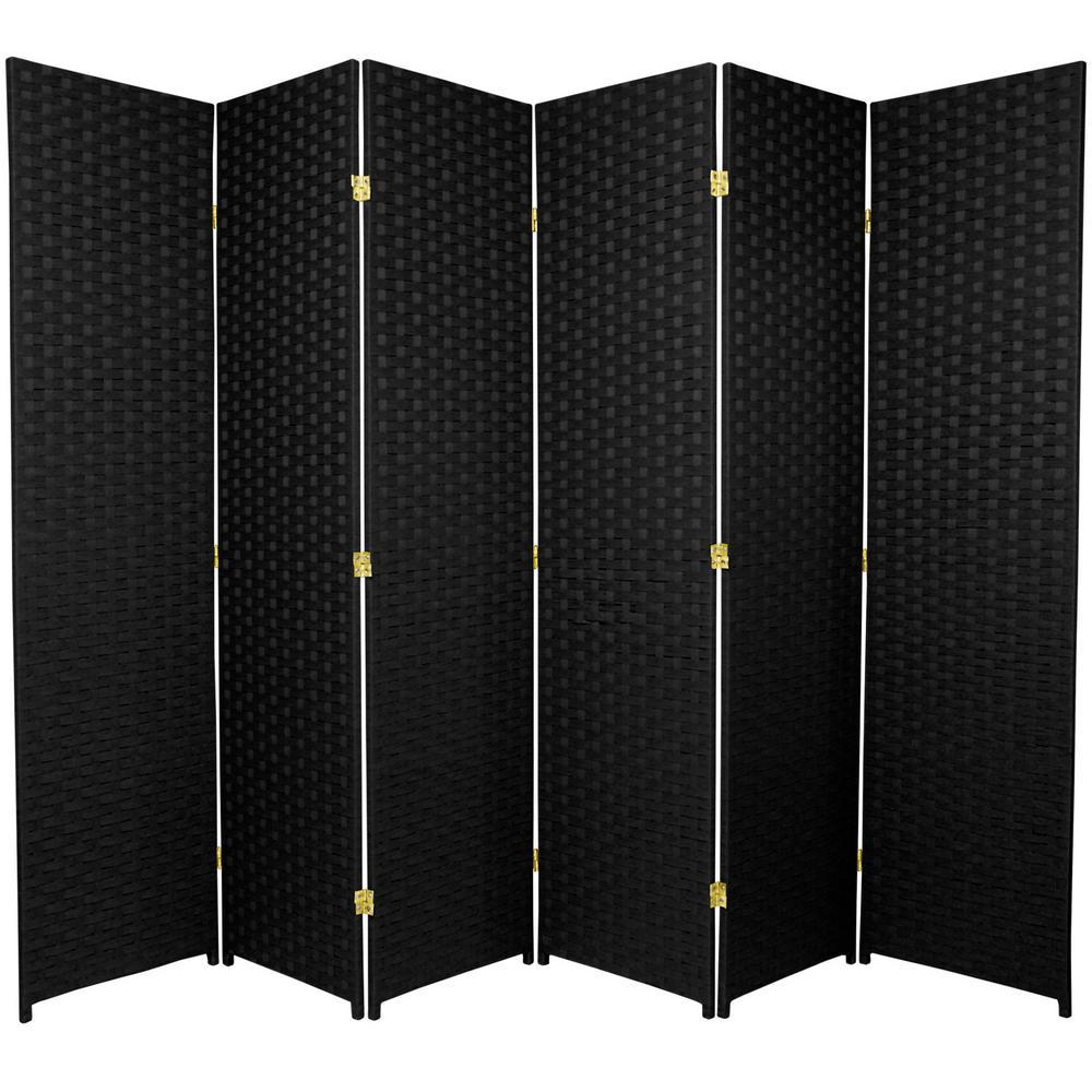 Oriental Furniture 6 Ft Black 6 Panel Room Divider Ssfiber 6p Blk