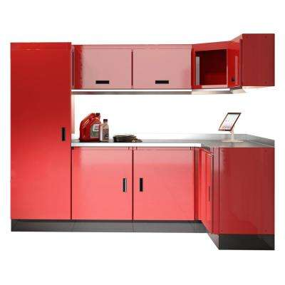 Select Series 75 in. H x 120 in. W x 22 in. D Aluminum Cabinet Set in Red with Stainless Steel Worktop (9-Piece)