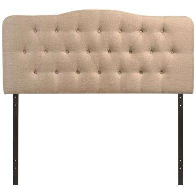 Annabel Beige King Upholstered Fabric Headboard