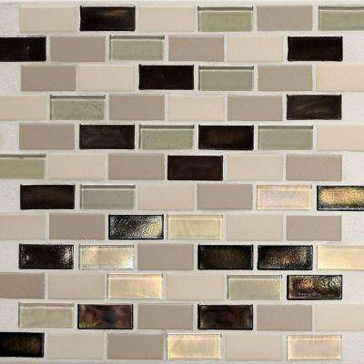 Coastal Keystones Sunset Cove Brick Joint 12 in. x 12 in. x 6 mm Glass Mosaic Floor and Wall Tile (1 sq. ft. / piece)