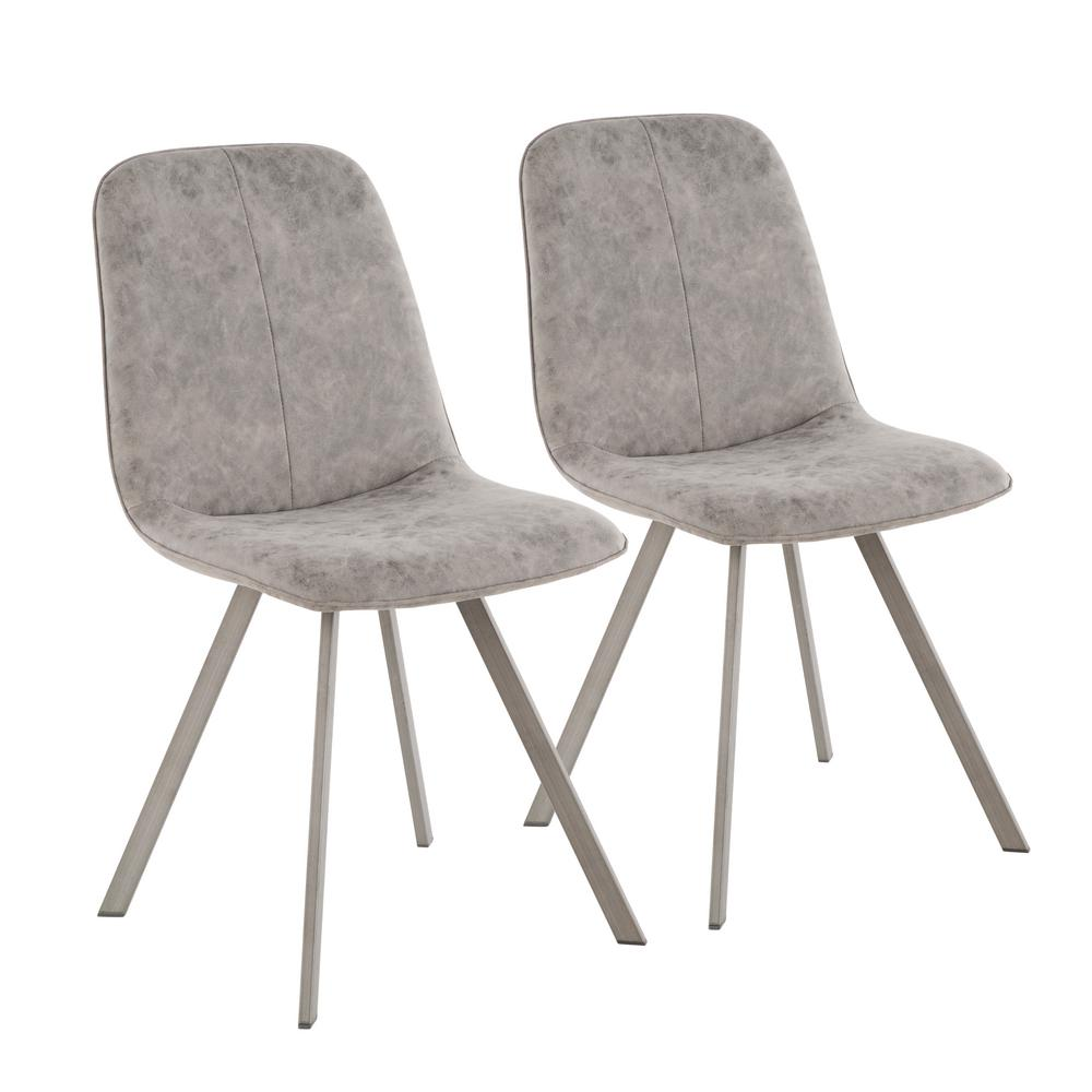 Lumisource Sedona Antique Metal and Grey Fabric Dining/Accent Chair (Set of  2) - Lumisource Sedona Antique Metal And Grey Fabric Dining/Accent Chair