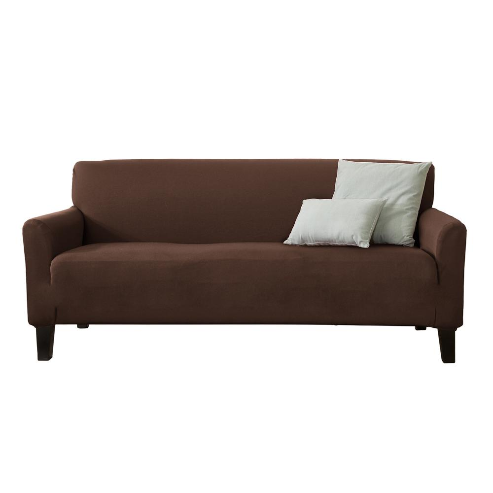 Great Bay Home Dawson Collection Mocha Twill Form Fit Sofa Slipcover