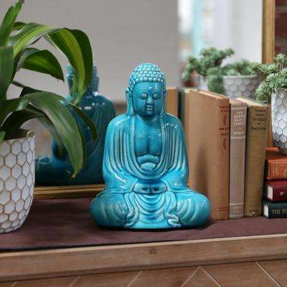 11.5 in. H Buddha Decorative Figurine in Blue Gloss Finish