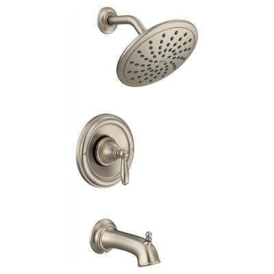 Brantford Posi-Temp Rainshower Single-Handle Tub and Shower Faucet Trim Kit in Brushed Nickel (Valve Not Included)