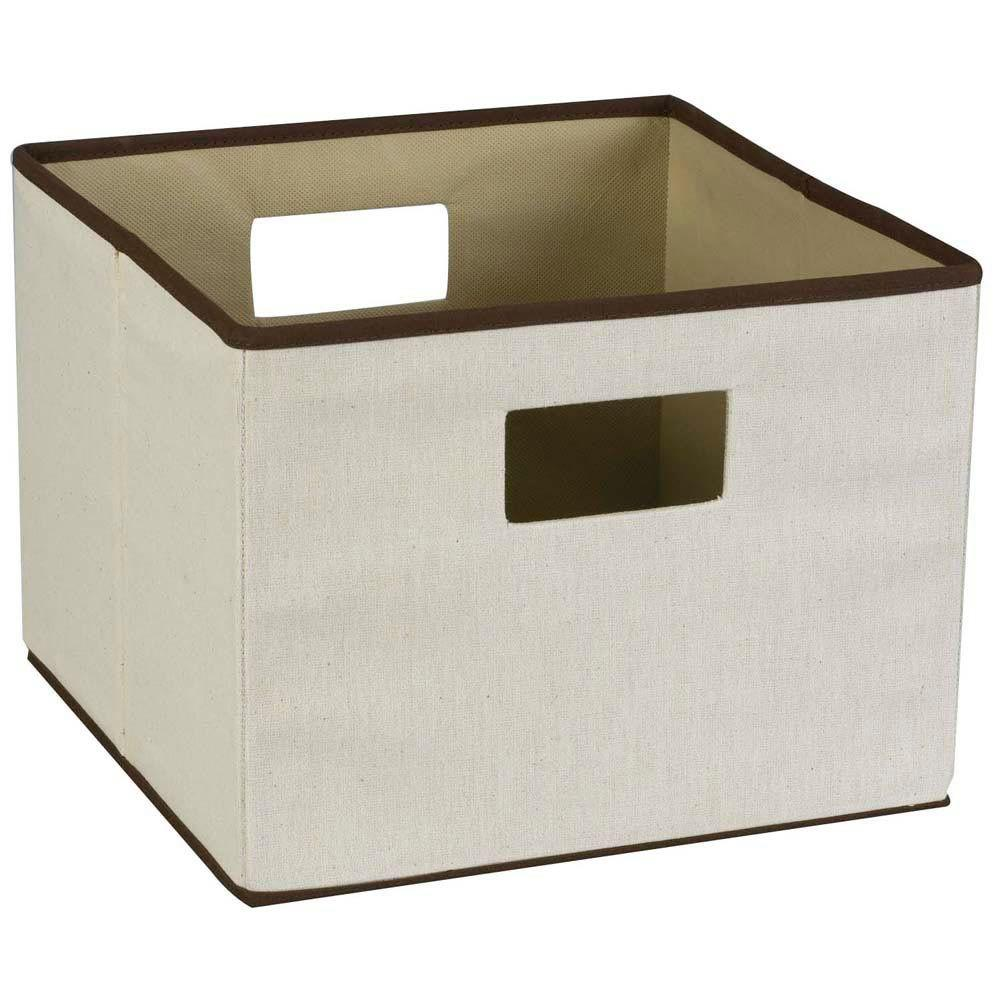Household Essentials 13 in. Square Natural Linen with Brown Trim Storage Bin with Liner