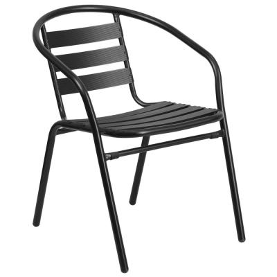 Metal Outdoor Dining Chair in Black