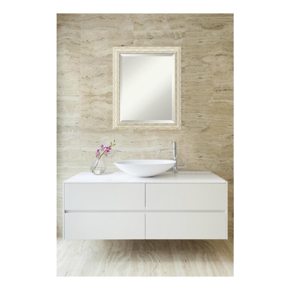 Cape Cod Whitewash Wood 20 in. W x 24 in. H Single Distressed Bathroom Vanity Mirror