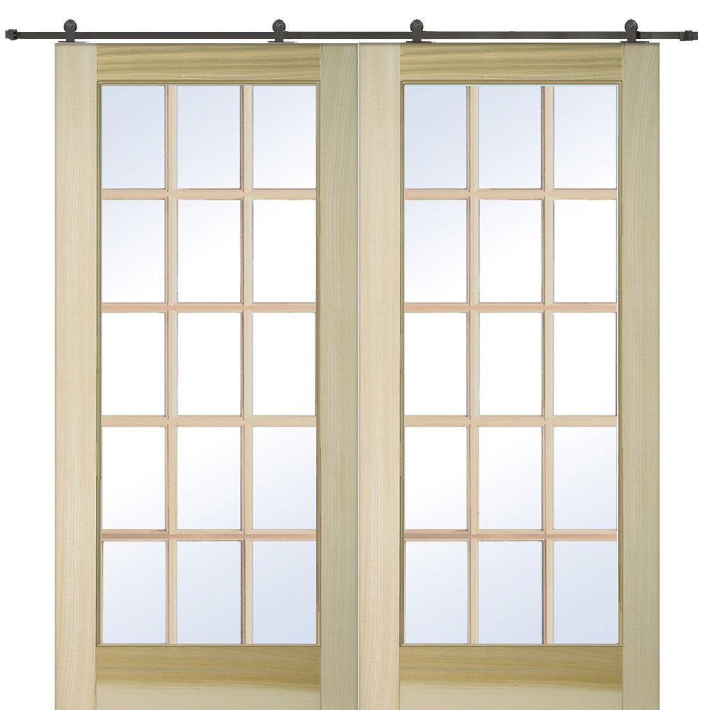 72 in. x 80 in. Poplar 15-Lite Double Door with Barn Door Hardware Kit