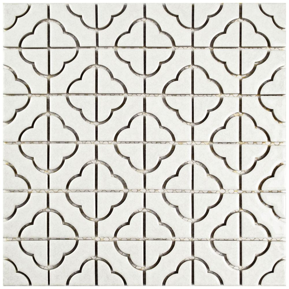 Merola Tile Palace White 11-3/4 in. x 11-3/4 in. x 5 mm Porcelain ...
