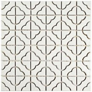 Palace White 11-3/4 in. x 11-3/4 in. x 5 mm Porcelain Mosaic Tile