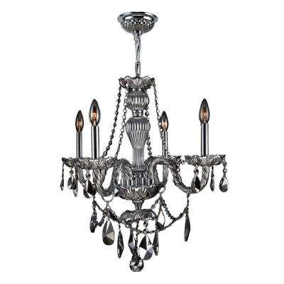 Provence Collection 4-Light Polished Chrome and Chrome Crystal Chandelier