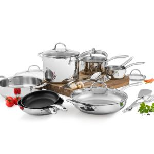 Wolfgang Puck 18-Piece Stainless Steel Cookware Set by Wolfgang Puck