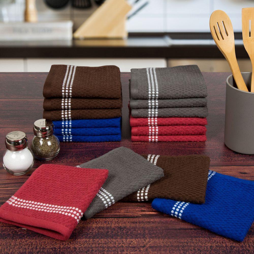 Cotton Popcorn Towel Set in Multi-Colors (16-Piece)