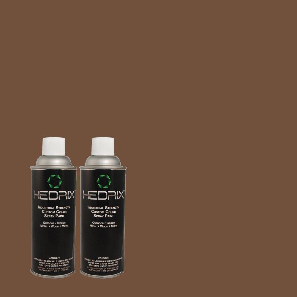 Hedrix 11 oz. Match of 809 Chestnut Brown Flat Custom Spray Paint (2-Pack)