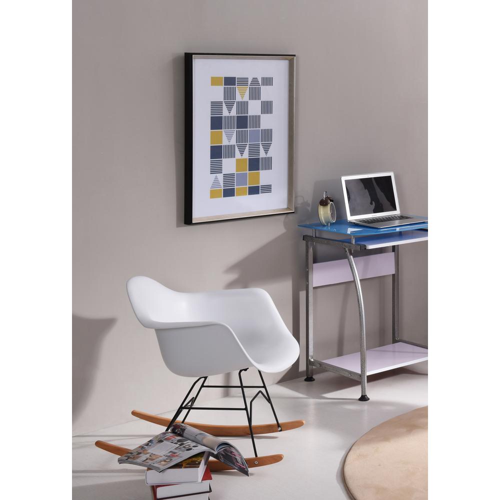 White Mid Century Modern Arm Rocking Chair