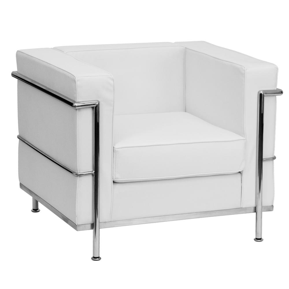 Flash Furniture Hercules Regal Series Contemporary White Leather Chair with Encasing Frame  sc 1 st  The Home Depot & Flash Furniture Hercules Regal Series Contemporary White Leather ...