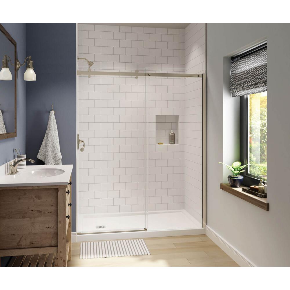 Maax Luminescence 59 In X 72 In Frameless Sliding Shower Door In Dark Bronze 138993 900 173 000 The Home Depot