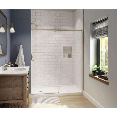 Luminescence 59 in. x 72 in. Frameless Sliding Shower Door in Brushed Nickel