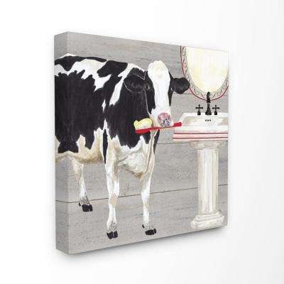 "30 in. x 30 in. ""Bath Time For Cows at Sink Red Black and GreyPainting"" by Tara Reed Canvas Wall Art"