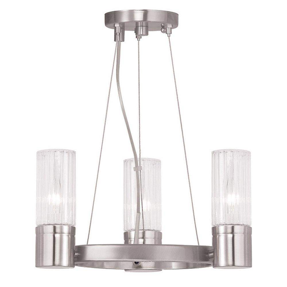 Midtown 3-Light Brushed Nickel Mini Chandelier with Hand Crafted Clear Fluted