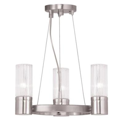 Midtown 4-Light Brushed Nickel Mini Chandelier with Hand Crafted Clear Fluted Glass Shades