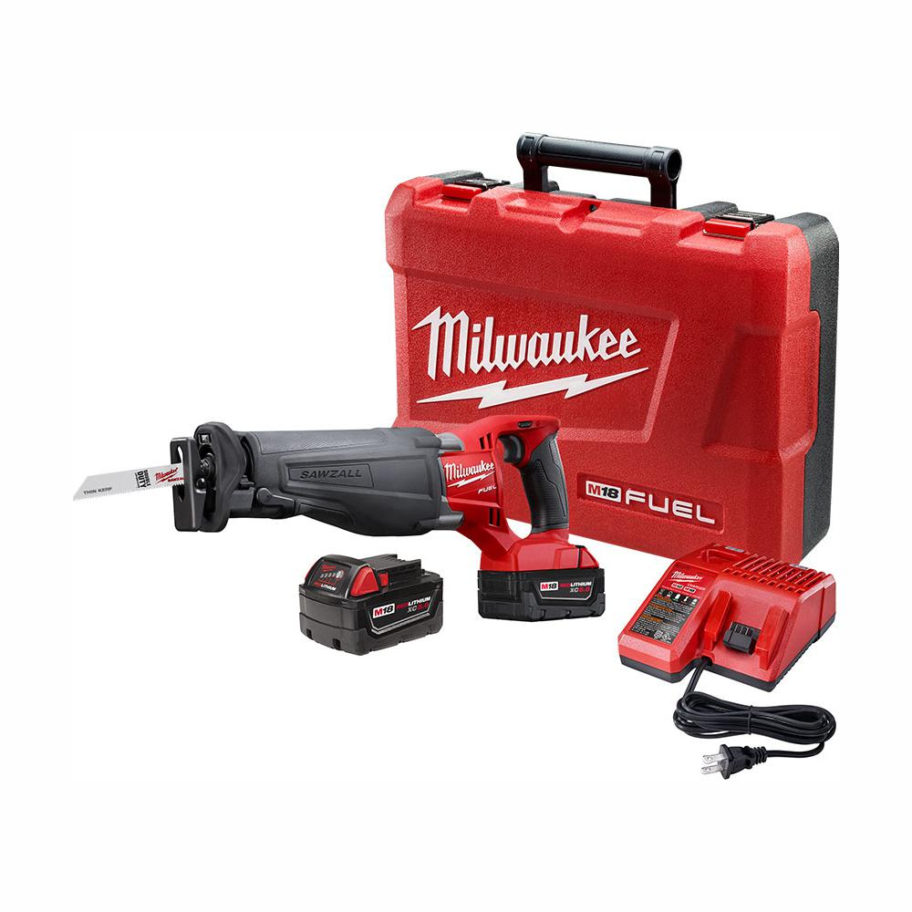 Milwaukee M18 FUEL 18-Volt Lithium-Ion Brushless Cordless SAWZALL Reciprocating Saw Kit W/(2) 5.0Ah Batteries, Charger & Hard Case