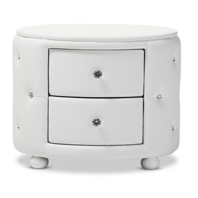 Davina 2-Drawer White Nightstand