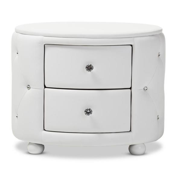 Baxton Studio Davina 2-Drawer White Nightstand 28862-6755-HD