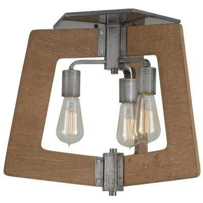 Lofty 3-Light Wheat and Steel Semi-Flushmount