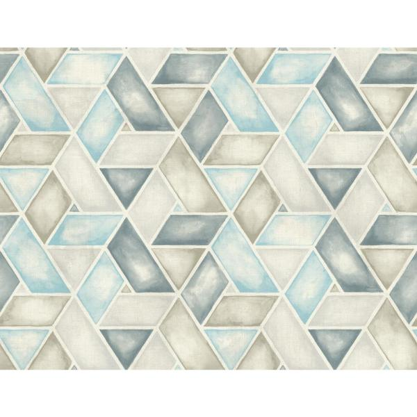 Seabrook Designs Kentmere Geo Blue And Grey Paper Strippable Roll Covers 60 75 Sq Ft Lg91302 The Home Depot