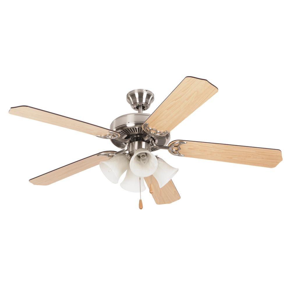 Yosemite Home Decor Westfield 52 in. Bright Brushed Nickel Ceiling Fan with 4-Light