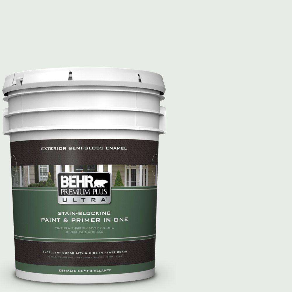 BEHR Premium Plus Ultra 5-gal. #750E-1 Steam White Semi-Gloss Enamel Exterior Paint