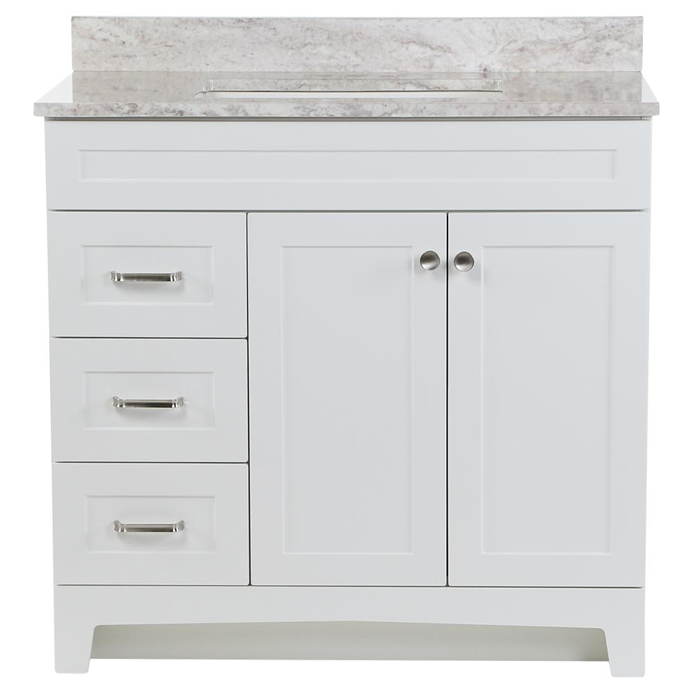 Thornbriar 37 in. W x 22 in. D Vanity in White with Stone Effects Vanity Top in Winter Mist with White Basin