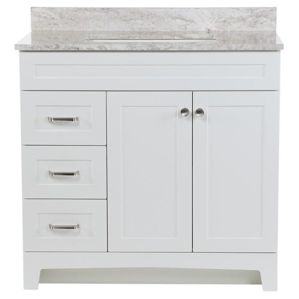 Thornbriar 37 in. W x 22 in. D Vanity in White with Stone Effects Vanity Top in Winter Mist with White Sink